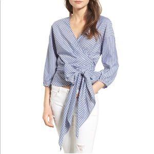 NWT WAYF blue/white wrap top